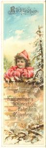 1890 ca MUNCHEN Kathreiner's Malzkaffee - Bookmark vintage ad 6x20 cm DAMAGED