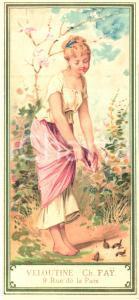 1890 ca PARIS Veloutine Charles FAY Poudre de riz (2) VINTAGE chromo 7x15