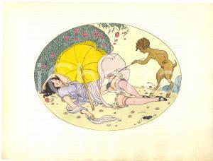 1925 VINTAGE EROTIC Gerda WEGENER Les délassements d'Eros - Aquarelle (3) 26x19