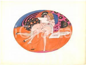 1925 VINTAGE EROTIC Gerda WEGENER Les délassements d'Eros - Aquarelle (6) 26x19
