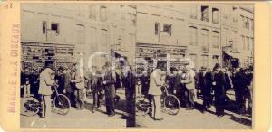 1890 ca LIEGE (BELGIQUE) Marché aux oiseaux - RARE Stereoscopic photo