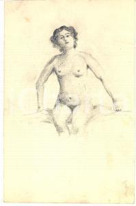 1930 ca EROTICA VINTAGE Nudo di donna seduta - Disegno matita 16x24 cm