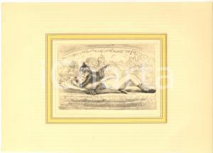 1900 ca EROTICA VINTAGE Coppia sdraiata - Scena di sesso (1) Stampa 28x20 cm