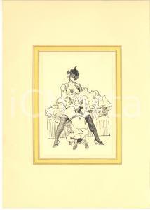 1930 ca EROTICA VINTAGE Scena di sesso orale - Donna con veletta - China 20x28