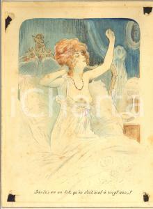 1920 ca VINTAGE EROTIC BOUDOIR Seule en un lit à vingt ans -  Aquarelle 22x29 cm
