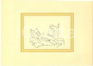 1930 ca EROTICA VINTAGE Coppia a letto - Scena di sesso (2) Disegno china 28x18