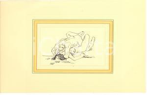 1930 ca EROTICA VINTAGE Coppia nuda - Scena di sesso (1) Disegno china 28x18
