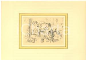 1930 ca VINTAGE EROTIC LESBIAN Oral sex in the bathroom *Engraving 28x20 cm
