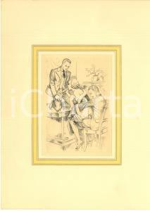 1930 ca VINTAGE EROTIC Threesome - Scene in a living room *Engraving 20x28 cm