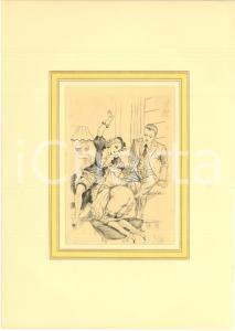 1930 ca VINTAGE EROTIC Threesome - Woman spanking - Engraving 20x28 cm
