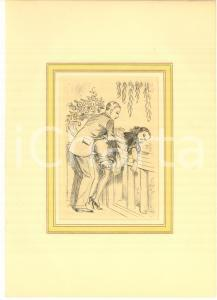 1930 ca VINTAGE EROTIC  Couple having sex in a terrace - Engraving 20x28 cm