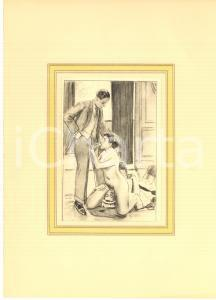 1930 ca VINTAGE EROTIC  Threesome - Sex in the living room - Engraving 20x28 cm