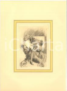 1930 ca VINTAGE EROTIC  Threesome - Two woman and a man (1) Engraving 20x28 cm