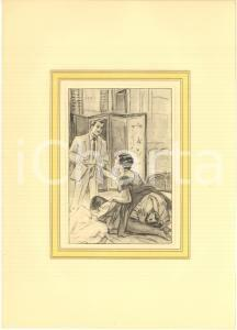1930 ca VINTAGE EROTIC  Threesome - Two woman and a man (2) Engraving 20x28 cm