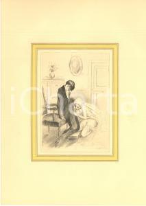 1930 ca VINTAGE EROTIC  Couple in a living room - Oral sex (1) Engraving 20x28