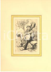 1930 ca VINTAGE EROTIC Couple having sex on a bench - Engraving 20x28 cm