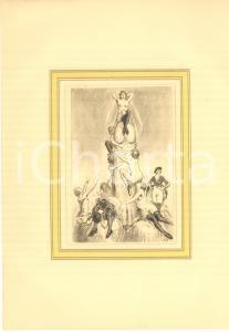 1930 ca VINTAGE EROTIC Women on a big phallus - Engraving 20x28 cm