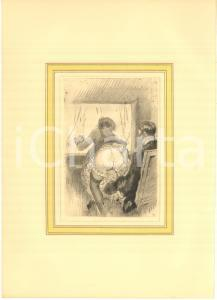 1930 ca VINTAGE EROTIC Couple having sex on a chair - Engraving 20x28 cm