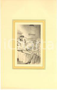 1930 ca VINTAGE EROTIC Group sex in a dormitory - Engraving 20x28 cm