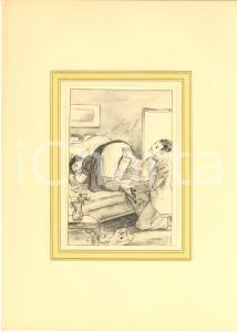 1930 ca VINTAGE EROTIC Couple ready for sex on a sofa - Engraving 20x28 cm