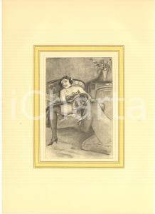 1930 ca VINTAGE EROTIC Couple on a sofa - Oral sex - Engraving 20x28 cm
