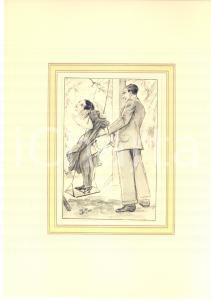 1930 ca VINTAGE EROTIC Sex on the swing - Engraving 20x28 cm