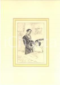 1930 ca VINTAGE EROTIC Couple in the bedroom - Oral sex - Engraving 20x28 cm