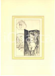 1930 ca VINTAGE EROTIC Couple spying on a sex scene - Engraving 20x28 cm