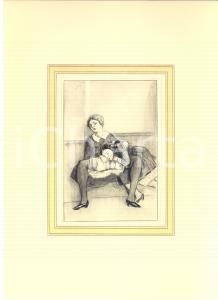 1930 ca VINTAGE EROTIC Lesbian couple having sex (1) - Engraving 20x28 cm