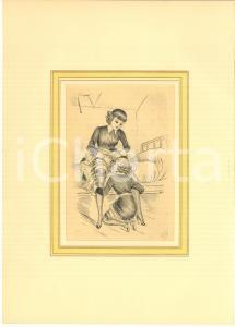 1930 ca VINTAGE EROTIC Lesbian couple having sex (2) - Engraving 20x29 cm