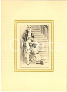 1930 ca VINTAGE EROTIC Lesbian couple at the foot of the stairs *Engraving 20x28