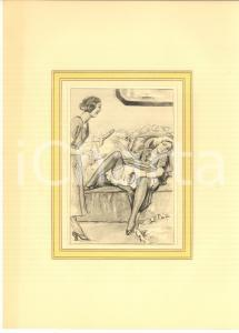 1930 ca VINTAGE EROTIC Lesbian couple with strap-on - Engraving 20x28 cm
