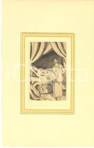1930 ca VINTAGE EROTIC Lesbian couple in the bedroom - Engraving 18x29 cm