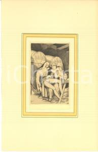 1930 ca VINTAGE EROTIC Monk and nun in the cellar - Engraving 18x29 cm