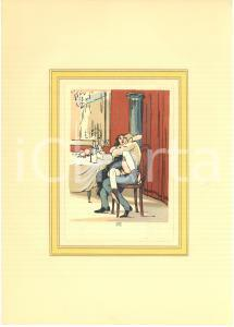 1950 ca VINTAGE EROTIC Couple having sex after a lunch - Engraving 20x28 cm