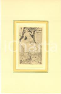 1930 ca VINTAGE EROTIC Couple undressing in the bedroom - Engraving 18x29 cm