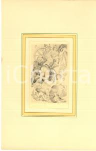 1930 ca VINTAGE EROTIC Group scene with woman upskirt - Engraving 18x29 cm