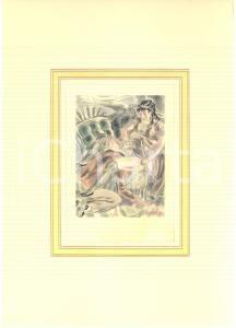 1930 ca VINTAGE EROTIC Couple having sex - Watercolor engraving 20x29 cm