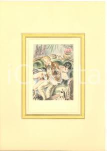 1930 ca VINTAGE EROTIC Couple having sex (2) Watercolor engraving 20x29 cm
