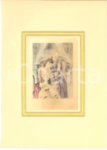 1930 ca VINTAGE EROTIC Couple having sex (3) Watercolor engraving 20x29 cm