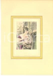 1930 ca VINTAGE EROTIC Couple having sex (4) Watercolor engraving 20x29 cm