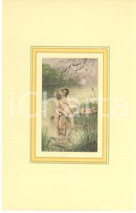 1900 ca VINTAGE EROTIC Couples having sex in a park - Engraving 19x28 cm