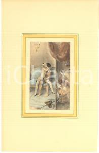 1900 ca VINTAGE EROTIC Lesbian couple spying a sex scene - Engraving 19x28 cm