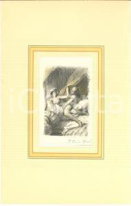 1940 ca VINTAGE EROTIC Paul-Emile BECAT Couple sur le lit - Gravure 18x29 cm