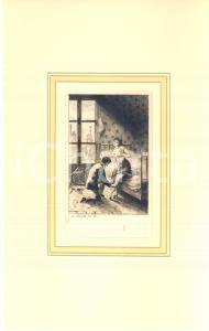 1880 ca Jules-Armand HANRIOT Couple près du lit - Scene érotique *Gravure 18x28