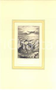 1880 ca Jules-Armand HANRIOT Couple dans la mer - Scene érotique *Gravure 18x28