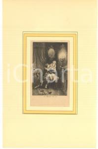 1880 Jules-Armand HANRIOT Couple avec Arlequin dans un boudoir *Gravure 18x28 cm