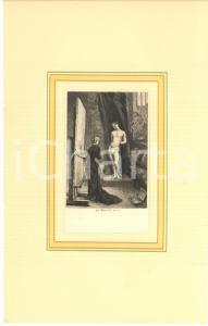 1880 ca Jules-Armand HANRIOT Femme peintre avec  son model - Gravure 18x29 cm
