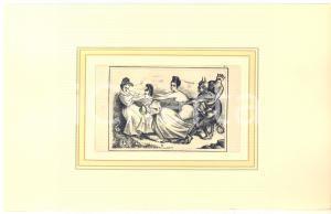 1900 ca VINTAGE EROTIC Women and demons - Engraving 28x18 cm