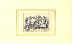 1900 ca VINTAGE EROTIC Woman and demons - Engraving 28x18 cm